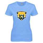 Ladies Sky Blue T-Shirt-Bear Head