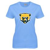 Ladies Sky Blue T-Shirt-Bear Head