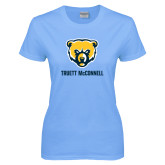 Ladies Sky Blue T-Shirt-Bear Head Truett McConnell