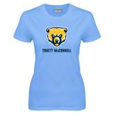 Ladies Sky Blue T-Shirt-Bear Head Truett McConnell