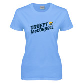 Ladies Sky Blue T-Shirt-Truett McConnell Slanted Slashed
