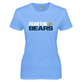 Ladies Sky Blue T-Shirt-Fear The Bears
