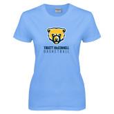 Ladies Sky Blue T-Shirt-Basketball