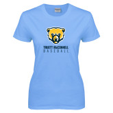 Ladies Sky Blue T-Shirt-Baseball