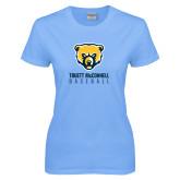 Ladies Sky Blue T-Shirt-Baseball