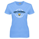 Ladies Sky Blue T-Shirt-Truett McConnell Basketball Arched