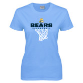 Ladies Sky Blue T-Shirt-Bears Basketball Hanging Net