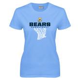 Ladies Sky Blue T-Shirt-Bears Basketball Hanging Net