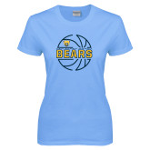 Ladies Sky Blue T-Shirt-Bears Basketball Lined Ball