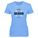 Ladies Sky Blue T-Shirt-Bears Baseball Seams