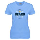 Ladies Sky Blue T-Shirt-Bears Baseball Seams