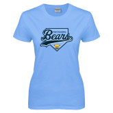 Ladies Sky Blue T-Shirt-Bears Baseball Plate