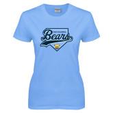Ladies Sky Blue T-Shirt-Bears Baseball Plate
