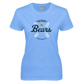 Ladies Sky Blue T-Shirt-Bears Softball Seams