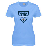 Ladies Sky Blue T-Shirt-Bears Softball Plate