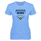 Ladies Sky Blue T-Shirt-Bears Softball Plate