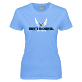 Ladies Sky Blue T-Shirt-Truett McConnell Cross Country Wings