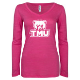 ENZA Ladies Hot Pink Long Sleeve V Neck Tee-Primary Logo