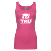 Next Level Ladies Junior Fit Fuchsia Jersey Tank-Primary Logo