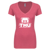 Next Level Ladies Vintage Pink Tri Blend V Neck Tee-Primary Logo