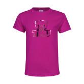Youth Fuchsia T Shirt-Primary Logo Foil