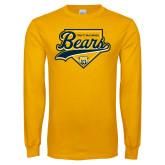 Gold Long Sleeve T Shirt-Bears Baseball Plate