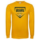 Gold Long Sleeve T Shirt-Bears Softball Plate