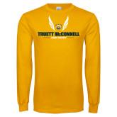 Gold Long Sleeve T Shirt-Truett McConnell Cross Country Wings