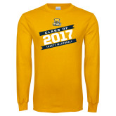 Gold Long Sleeve T Shirt-Class Of - Slanted Banners, Personalized year