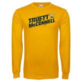 Gold Long Sleeve T Shirt-Truett McConnell Slanted Slashed