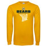 Gold Long Sleeve T Shirt-Bears Basketball Hanging Net