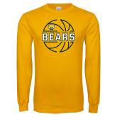 Gold Long Sleeve T Shirt-Bears Basketball Lined Ball