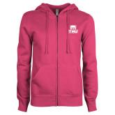 ENZA Ladies Fuchsia Fleece Full Zip Hoodie-Primary Logo