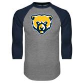 Grey/Navy Raglan Baseball T Shirt-Bear Head