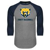 Grey/Navy Raglan Baseball T Shirt-Bear Head Truett McConnell