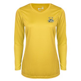 Ladies Syntrel Performance Gold Longsleeve Shirt-Primary Logo