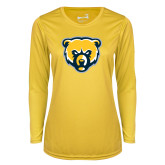 Ladies Syntrel Performance Gold Longsleeve Shirt-Bear Head