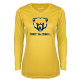 Ladies Syntrel Performance Gold Longsleeve Shirt-Bear Head Truett McConnell