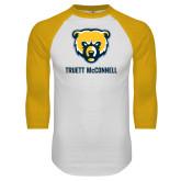 White/Gold Raglan Baseball T Shirt-Bear Head Truett McConnell