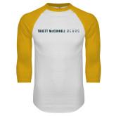White/Gold Raglan Baseball T Shirt-Truett McConnell Bears
