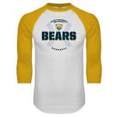 White/Gold Raglan Baseball T Shirt-Bears Baseball Seams