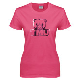 Ladies Fuchsia T Shirt-Primary Logo Foil
