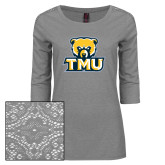 Ladies Grey Heather Lace 3/4 Sleeve Tee-Primary Logo