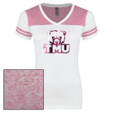 Ladies White/Heathered Pink Juniors Varsity V Neck Tee-Primary Logo Foil