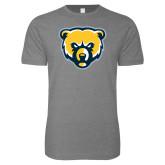 Next Level SoftStyle Heather Grey T Shirt-Bear Head