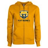 ENZA Ladies Gold Fleece Full Zip Hoodie-Bear Head Truett McConnell