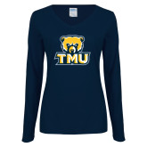 Ladies Navy Long Sleeve V Neck T Shirt-Primary Logo