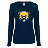 Ladies Navy Long Sleeve V Neck T Shirt-Bear Head