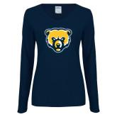 Ladies Navy Long Sleeve V Neck T Shirt-Bear Head