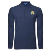 Navy Long Sleeve Polo-Primary Logo